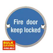 Fire Door Keep Locked Sign Satin Stainless Steel 76mm