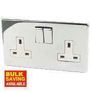 Crabtree 13A 2-Gang DP Switched Socket White Insert Polished Chrome