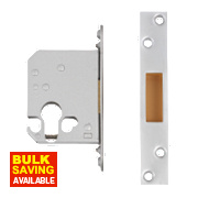 "Securefast Euro Cylinder Deadlock Satin Chrome Plated "" (64mm) Backset"