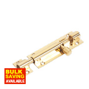 Straight Door Bolt Polished Brass 76mm