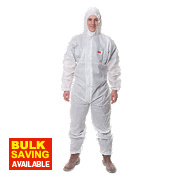 "3M 4515 Type 5/6 Disposable Protective Coverall White Lge 39-43"" Chest "" L"