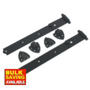 Gate Hinge Reversible Black 35 x 490 x 185mm Pack of 2