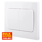 British General 2-Gang 2-Way 10AX Light Switch with Wide Rocker White