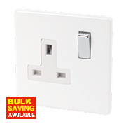 Varilight 1-Gang 13A Ice White Double Pole Switch Socket with Metal Rockers