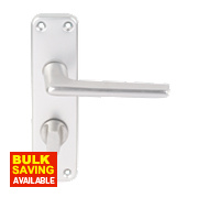 Lever on Backplate WC Door Handle Pair Satin Aluminium