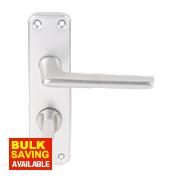 Lever on Backplate WC Door Handle Pair Satin Aluminium