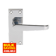 Victorian Straight Short Backplate Door Handle Latch Pack Polished Chrome