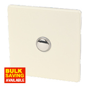 Varilight 1-Gang 2-Way 6A White Choc Metal Push On/Off Switch