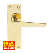 Victorian Straight Straight Lever Lock Pair Brass Effect