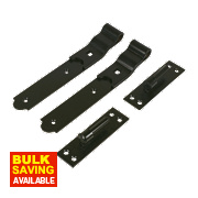 Cranked Gate Hinge Pack Powder Coated Black 40 x 254 x 140mm Pack of 2