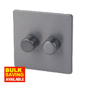 LAP 2-Gang 2-Way Dimmer Switch Mains/Low Voltage 250W Slate Effect