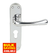 Serozzetta Ibra Lever on Backplate Euro Lock Door Handle Polished Chrome