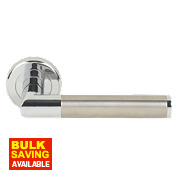 Serozzetta Trend Lever on Backplate Door Handle Pack Pol. Chrome/Sat Nickel