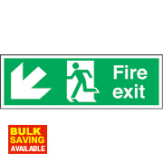 """Fire Exit"" Down Left Arrow Sign 150 x 450mm"