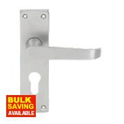 Jedo Euro Lock Straight Lever Lock Pair Satin Chrome
