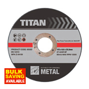 Titan Metal Grinding Discs 115 x 6 x 22.23mm Pack of 3