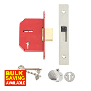"Union 5-Lever Mortice Deadlock Stainless Steel 2½"" / 64mm"