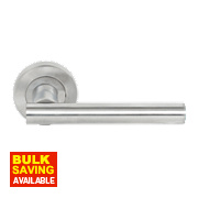 Jedo T-Bar Lever on Rose Door Handle Pair Satin Chrome