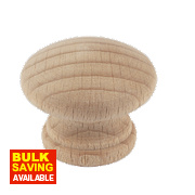 Traditional Cabinet Door Knobs Plain Beech 30mm Pack of 2