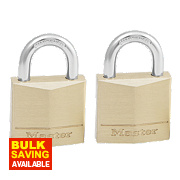 Master Lock Keyed Alike Padlocks Brass 30mm Pack of 2
