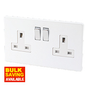 Varilight 2-Gang 13A Ice White Double Pole Switch Socket with Metal Rockers