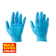 Cleangrip Nitrile Powdered Disposable Gloves Blue Large Pk100