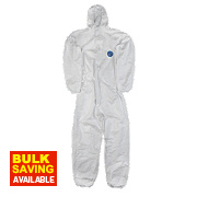 "Tyvek Classic Hooded Disposable Coverall White Large 40-42"" Chest 32"" L"