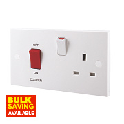 British General 45A DP Switch & 13A Switched Plug Socket with Neon White