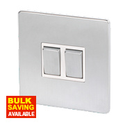 LAP 2-Gang 2-Way 10AX Light Switch Brushed Chrome