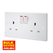 British General 13A 2-Gang Single Pole Switched Plug Socket White