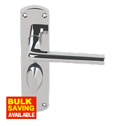 Serozzetta Uno Lever on Backplate WC Door Handle Pair Polished Chrome