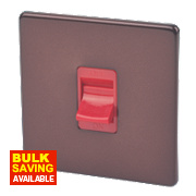 Varilight 1-Gang 45A Mocha / Red Cooker Switch