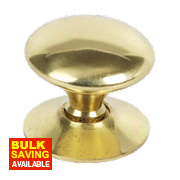Traditional Victorian Cabinet Door Knobs Polished Brass 25mm Pack of 5