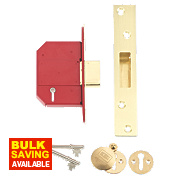 "Union BS 5-Lever Mortice Deadlock Brass 2½"" / 68mm"