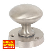 Victorian Mortice Door Knob Pair Satin Nickel Effect 51mm