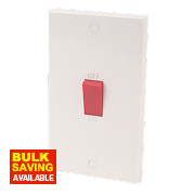 2-Gang 45A Cooker Switch White