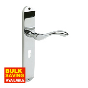 Cadenza Long Backplate Lock Door Handle Pair Polished Chrome
