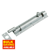 Necked Door Bolt Satin Chrome-Plated 152mm