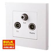British General TV, FM & Satellite Screened Triplex Socket White