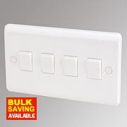 LAP 4-Gang 2-Way 10AX Light Switch White