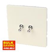 Varilight 2-Gang 2-Way 10A White Choc Metal Toggle Switch