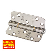 Eclipse Grade 13 Fire Door Insignia Radius Hinges Polished Stainless Steel 102 x 76mm Pk3