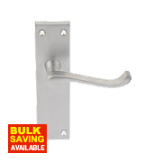 Victorian Scroll Lever on Backplate Lock Pair Satin Chrome