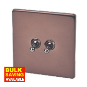 Varilight 2-Gang 2-Way 10A Mocha Metal Toggle Switch