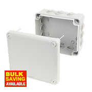 12-Entry Junction Box with Knockouts Grey 195 x 165 x 90mm
