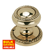 Georgian Mortice Knob Pair Polished Brass 51mm