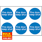 """Fire Door Keep Shut"" Adhesive Labels 100mm 100 x 100mm Pack of 30"