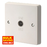Crabtree Capital 1-Gang TV / FM Coaxial Socket Gloss White