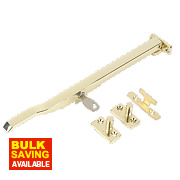 Lockable Casement Stay Polished Brass 255mm