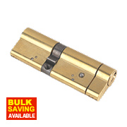 Yale AS Series Euro Double Cylinder Lock 55-40 (95mm) Polished Brass